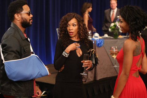 """Malik (Hosea Chanchez), Tasha (Wendy Raquel Robinson) and Chardonnay (Brandy Norwood) return to """"The Game"""" premiering Tuesday, March 4 at 10:00 PM ET/PT on BET -- Photo Courtesy of BET Networks/Quantrell D. Colbert"""