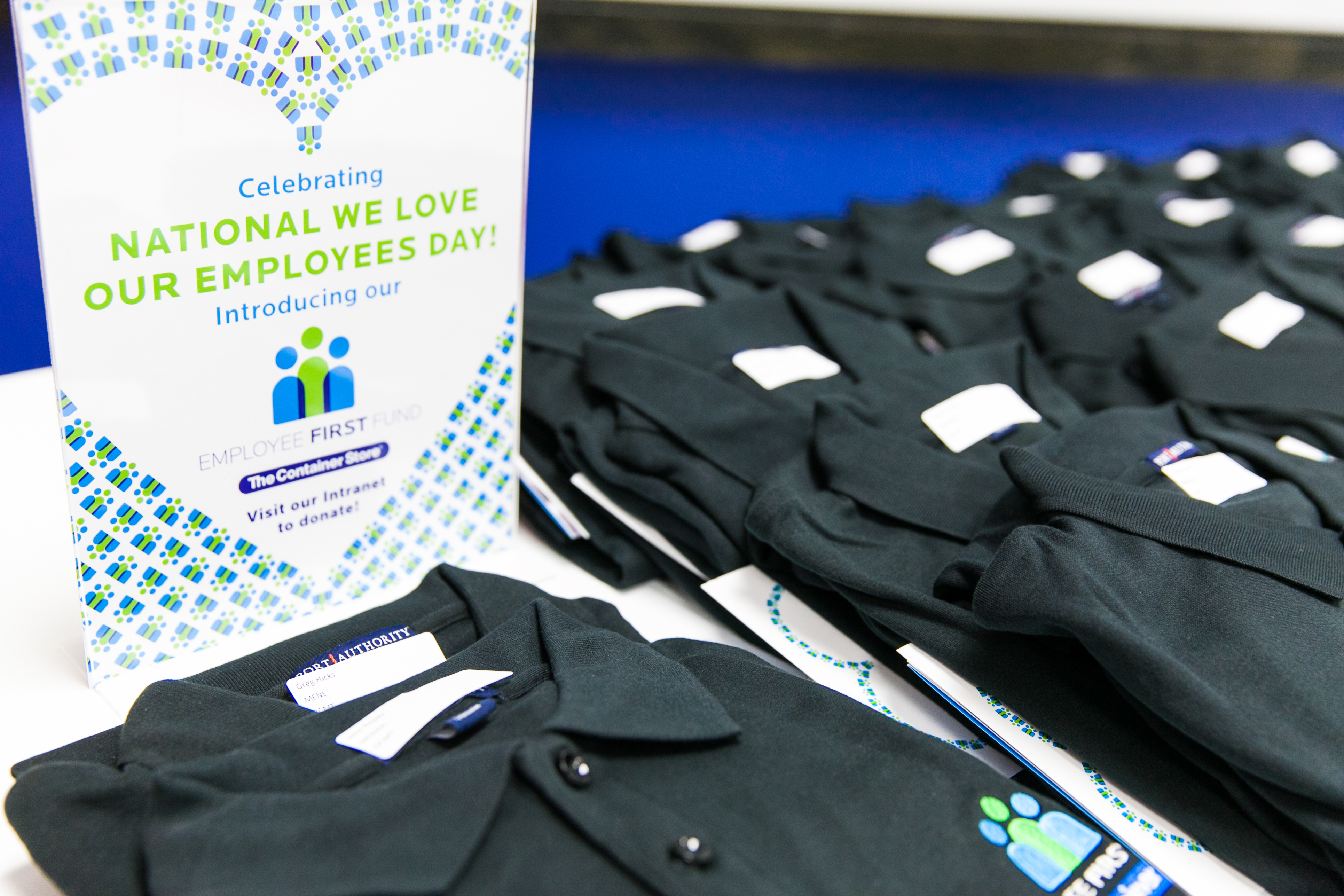 Each of The Container Store's employees from coast to coast received an Employee First Fund polo to commemorate the launch and National We Love Our Employees Day. (Photo: Business Wire)