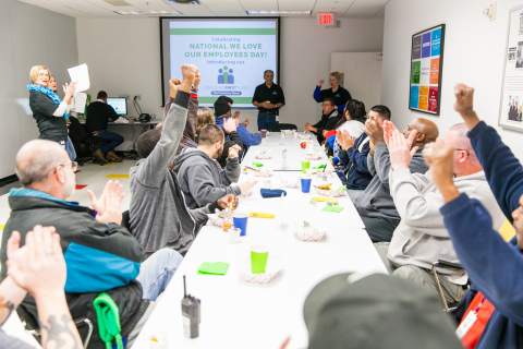 Employees of The Container Store's Distribution Center and Home Office were treated to breakfast while celebrating the newly launched Employee First Fund on Friday morning. (Photo: Business Wire)