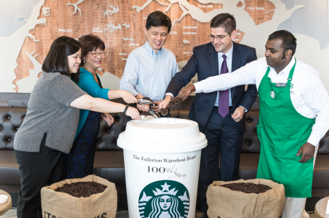 (From L to R) Ruth Yam, Starbucks Singapore;  Denise Phua, president, Autism Resource Center; Minister Chan Chun Sing; Jeff Hansberry, president, Starbucks China and Asia Pacific; and Sures Muniasamy, Starbucks Singapore, officiating the Starbucks Singapore 100th store opening at the Fullerton Waterboat House. (Credit: Starbucks Coffee Company)