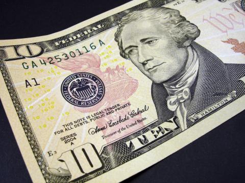 President Alexander Hamilton on the $10 bill (Photo: Business Wire)