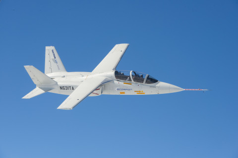 Textron AirLand's Scorpion jet in test flight over Wichita, Kansas on February 13, 2014. (Photo: Bus ...