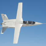 Overhead view of the Scorpion ISR/Strike twin-engine jet in test flight, February 13, 2014. (Photo: Business Wire)
