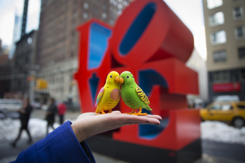 Thursday's Nor'easter didn't stop these two love birds from Moose Toys' Little Live Pets line from migrating north for the 111th American International Toy Fair, which opens on Sunday, February 16 at the Jacob K. Javits Convention Center. Moose Toys, creators of The Ugglys(TM), will introduce Little Live Pets(TM) Birds (pictured here atop NYC's iconic LOVE sculpture) at the trade show. (Photo: Business Wire)