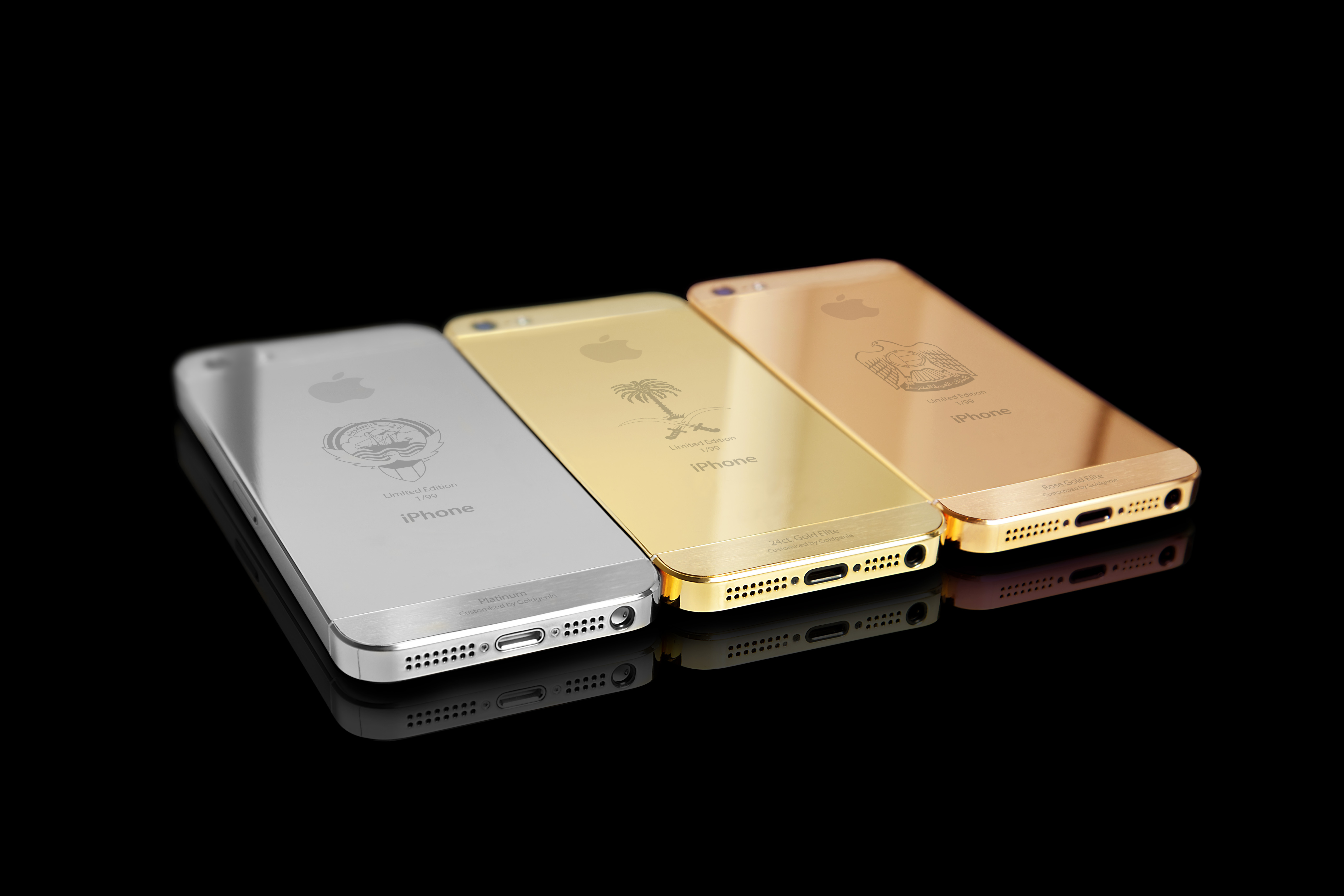 Limited Edition 24ct. Gold, Rose Gold and Platinum iPhone 5s range for the Gulf States created by Goldgenie. (Photo: Business Wire)