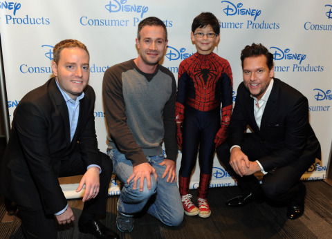 """Josh Silverman, left, Executive Vice President, Disney Consumer Products, Freddie Prinze, Jr., second left, voice of Kanan on the upcoming animated TV series """"Star Wars Rebels,"""" Jorge Vega, second right, in The Amazing Spider-Man 2, and actor Dane Cook, right, voice of Dusty Crophopper in Disney's animated film Planes: Fire & Rescue, help Disney Consumer Products unveil an innovative assortment of toys inspired by their content, Monday, Feb. 17, 2014, at the American International Toy Fair in New York. (Photo by Diane Bondareff/Invision for Disney Consumer Products)"""