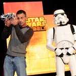"Actor Freddie Prinze, Jr., voice of Kanan, holds Star Wars Rebels Ghost Ship, joined by Stormtroopers, as Disney Consumer Products unveils an innovative assortment of toys inspired by the upcoming animated TV series ""Star Wars Rebels,"" Monday, Feb. 17, 2014, at the American International Toy Fair in New York. (Photo by Diane Bondareff/Invision for Disney Consumer Products)"