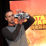 "Actor Freddie Prinze, Jr., voice of Kanan, holds Star Wars Rebels Ghost Ship, as Disney Consumer Products unveils an innovative assortment of toys inspired by the upcoming animated TV series ""Star Wars Rebels,"" Monday, Feb. 17, 2014, at the American International Toy Fair in New York. (Photo by Diane Bondareff/Invision for Disney Consumer Products)"
