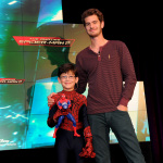 Actor Andrew Garfield, right, and co-star Jorge Vega help Disney Consumer Products unveil an innovative assortment of toys inspired by The Amazing Spider-Man 2 by Sony Pictures Entertainment, Monday, Feb. 17, 2014, at the American International Toy Fair in New York. (Photo by Diane Bondareff/Invision for Disney Consumer Products)