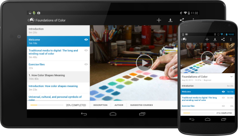 lynda.com launches Android app for phone and tablet devices. (Graphic: Business Wire)