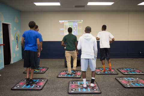 "Youngsters at the Boys & Girls Club of Southern Nevada get active with a new ""exergame"" donated by UnitedHealthcare and KONAMI (Photo: Boys & Girls Club of Southern Nevada)."