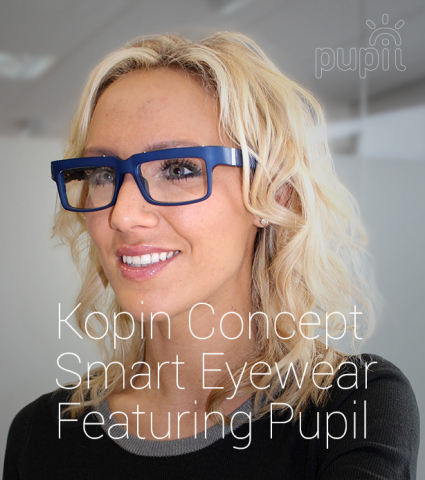 Woman wearing Kopin's natural looking concept smart eyewear. (Photo: Business Wire)