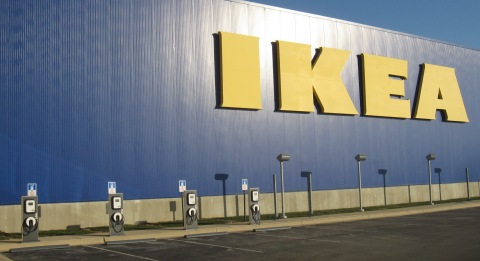 IKEA, the world's leading home furnishings retailer, today officially plugged-in four Blink® electric vehicle charging stations at one of its Chicago-area stores as part of its partnership with Car Charging Group, Inc. (Photo: Business Wire)