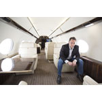 Jet Edge CEO Bill Papariella inside the cabin of company's new G650 aircraft. (Photo: Business Wire)