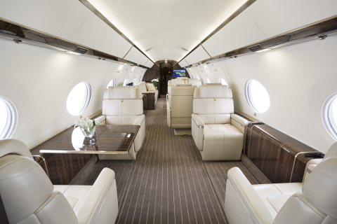 Jet Edge G650 aircraft's luxury interior. (Photo: Business Wire)