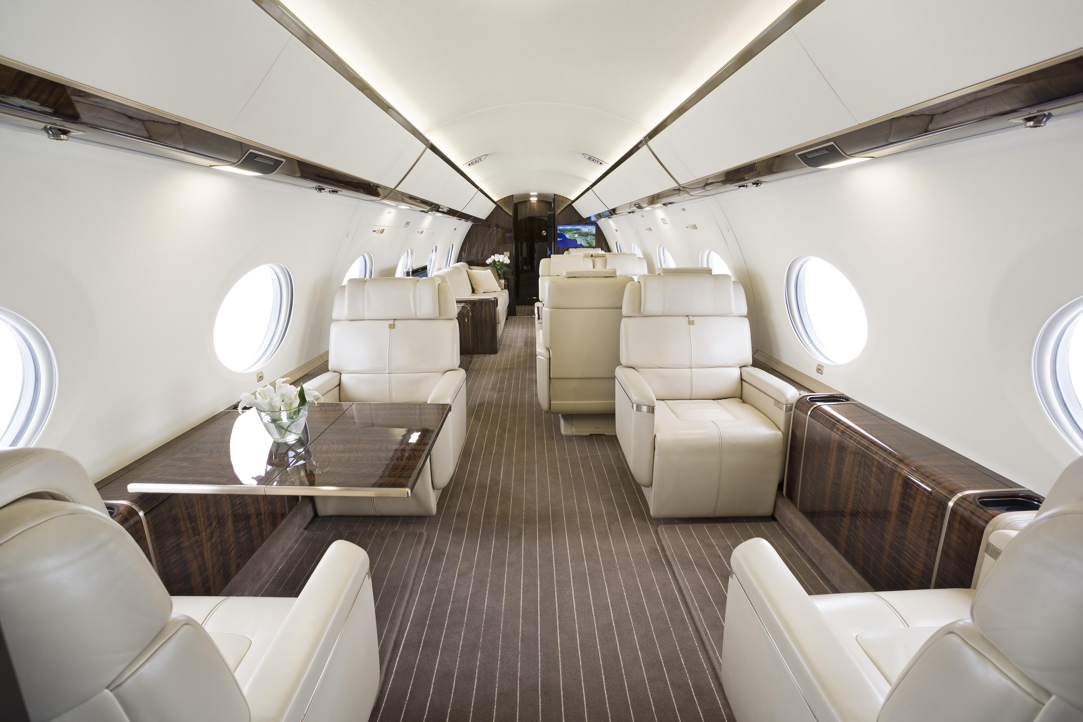 Jet Edge G650 aircraft's luxury interior. (Photo: Business Wire)