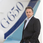 Jet Edge CEO Bill Papariella and company's new G650 aircraft. (Photo: Business Wire)