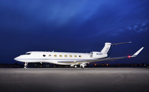 Exterior shot of Jet Edge G650 aircraft at company's Los Angeles operating base. (Photo: Business Wire)