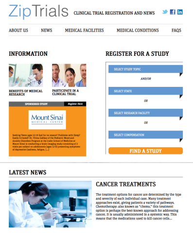 Metro US re-launches ZipTrials, the leading site for clinical trial registration and medical researc ...