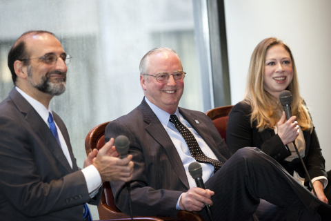 Howell Wechsler, CEO of Alliance for a Healthier Generation, Jack Lund, President & CEO of the YMCA of Greater New York, and Chelsea Clinton, Vice Chair of the Bill, Hillary and Chelsea Clinton Foundation, Provide Insights on Community Solutions to Combat this Important Health Issue (Photo: Business Wire)