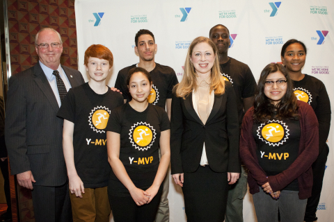 Jack Lund, President & CEO of the YMCA of Greater New York, with Chelsea Clinton, Vice Chair of the Bill, Hillary and Chelsea Clinton Foundation, and Y kids participating in the new Y-MVP program. (Photo: Business Wire)