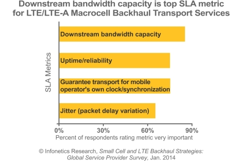 Downstream bandwidth capacity is a top service-level agreement (SLA) metric for backhaul services supporting LTE and LTE-Advanced (LTE-A), Infonetics' survey of operators found. (Graphic: Infonetics Research)