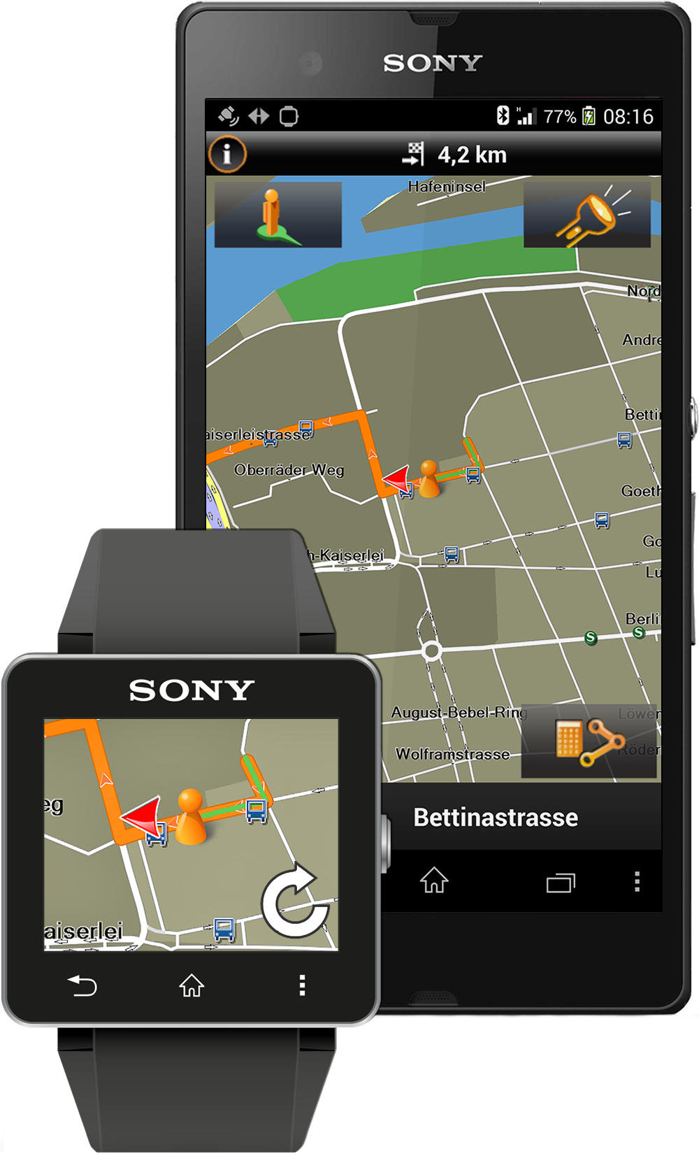 Garmin Xperia Edition seamlessly integrates with Sony SmartWatch 2 to display walking directions. (Photo: Business Wire)
