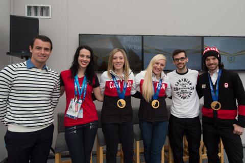 P&G sponsored athletes celebrate during a P&G Thank You Mom event at Canada Olympic House in Sochi.  ...