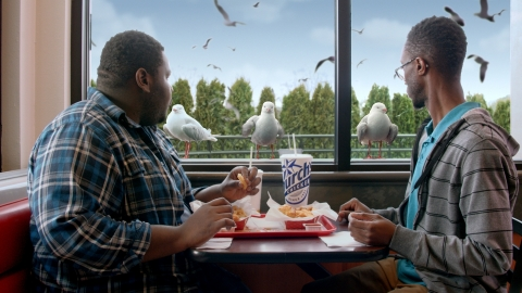 Seafood is back at Church's Chicken! Starring in Church's new ad are the ultimate denizens of the sea -- thousands of seagulls hovering over Church's as they would a fishing trawler hauling a fresh catch and now looking to get a bite of crispy fish fillets and shrimp from Church's restaurant guests. (Photo: Business Wire)