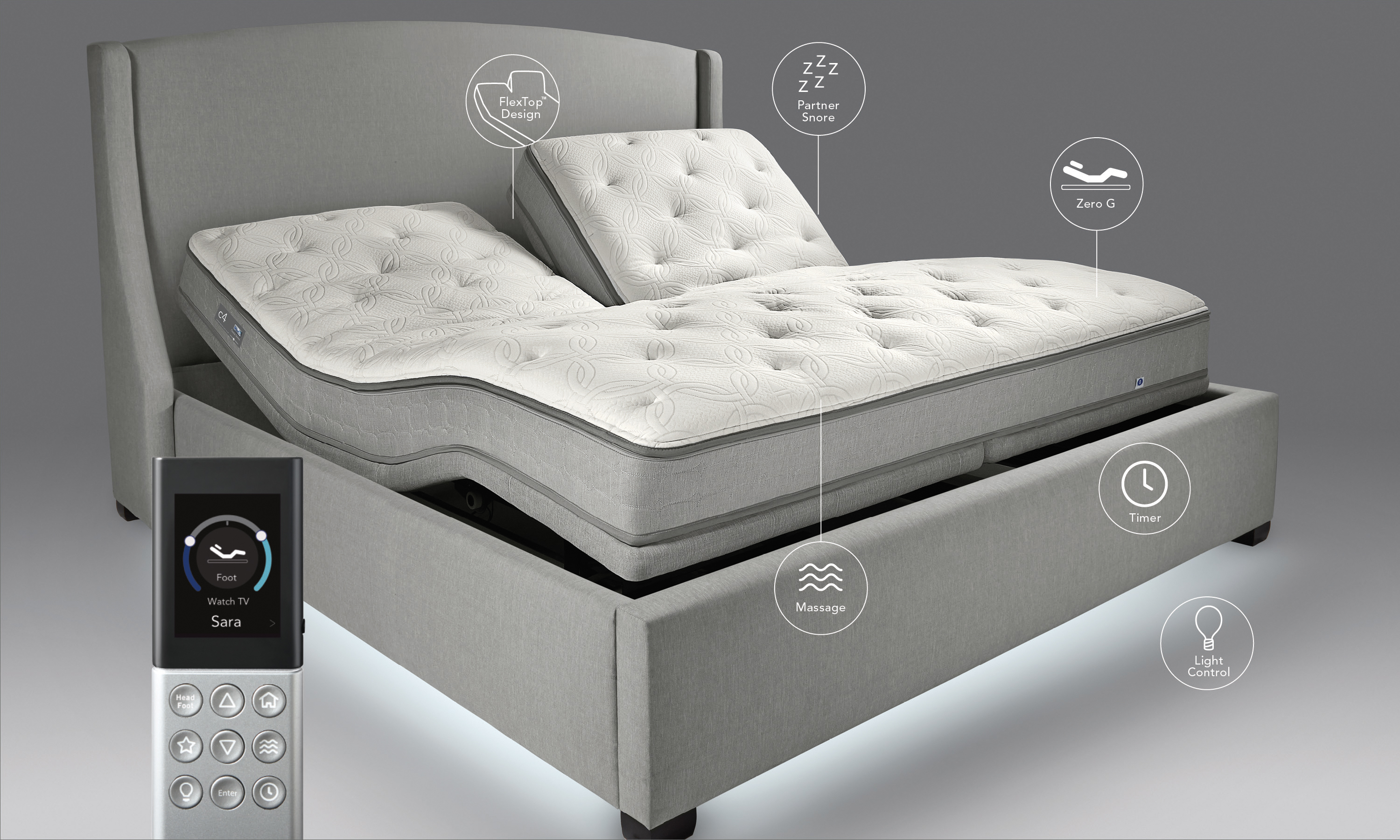 The Sleep Number c4 bed has superior comfort, support and pressure relief, and features Advanced DualAir technology that offers individual comfort and support on each side of the bed; an Edge-to-Edge chamber design, which extends adjustable-air support to the outer mattress edges; and a 3-zone comfort layer that provides soft support, and contours and cushions the head, back and hips for improved comfort. Pictured: Sleep Number c4 mattress with a FlexTop design and FlexFit 3 adjustable base (Photo: Sleep Number)