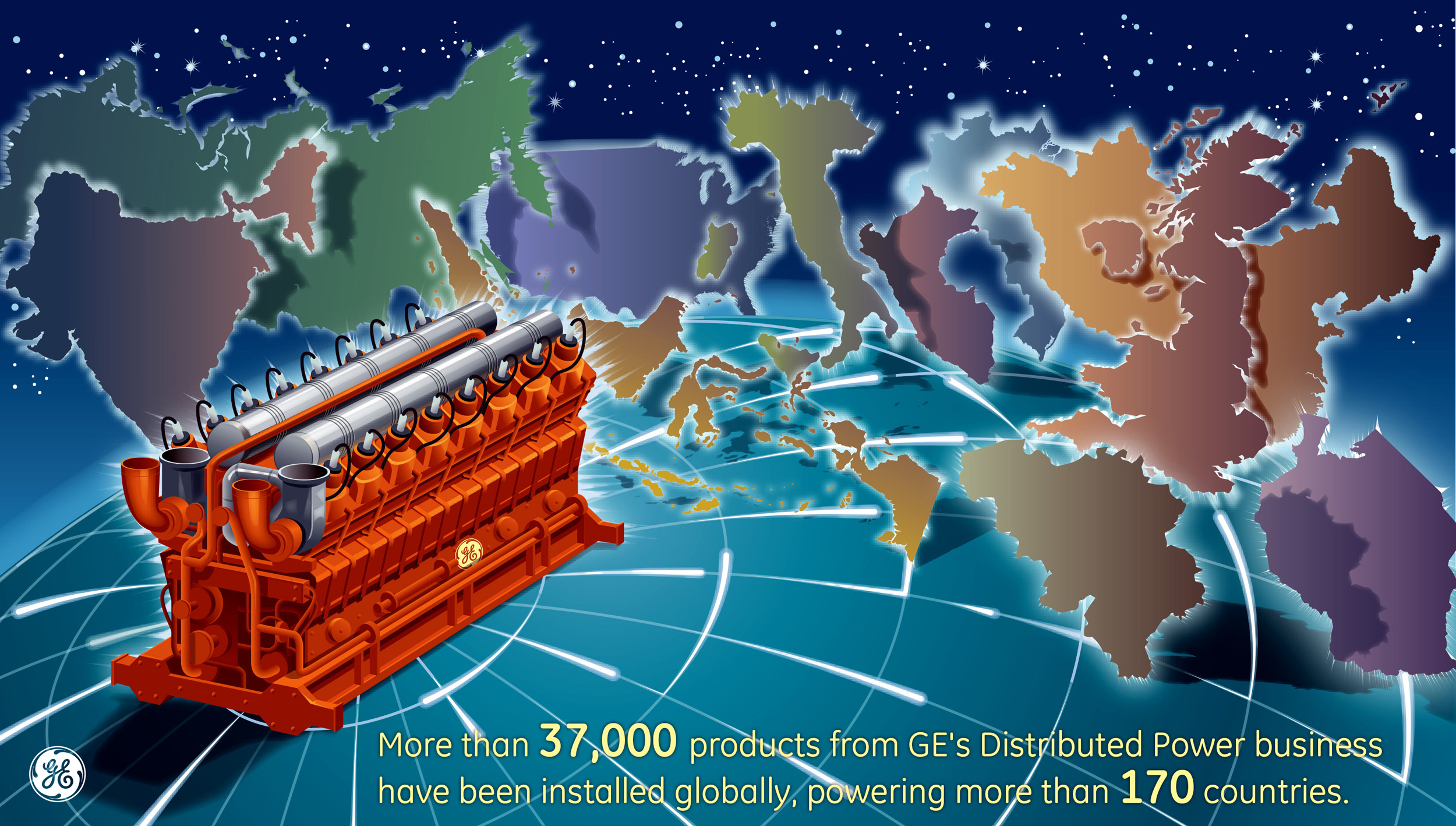More than 37,000 products from GE's Distributed Power business have been installed globally, powering more than 170 countries. (Graphic: Business Wire)
