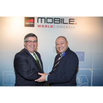 Hany Fam, President Global Strategic Alliances, MasterCard, and Joe DiFonzo, CTO, Syniverse, announced a global collaboration of their two companies at Mobile World Congress in Barcelona on Tuesday, February 25, 2014. (Photo: Business Wire)