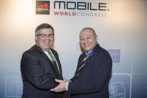 Hany Fam, President Global Strategic Alliances, MasterCard, and Joe DiFonzo, CTO, Syniverse, announc ...