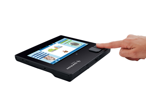 Integrating Morpho's world leading biometric technology, MorphoTablet includes a fingerprint reader and camera for biometric capture and check. Its tamper-proof hardware and encryption provide security to protect data. (Photo: Business Wire)
