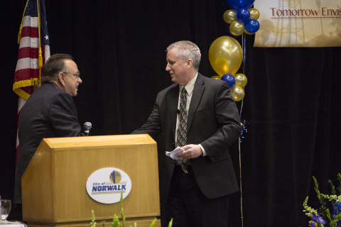 Norwalk Mayor Luigi Vernola (left) introduces City Manager Mike Egan at the 2014 State of the City event. Egan touted Norwalk's focus on redevelopment. (Photo: Business Wire)