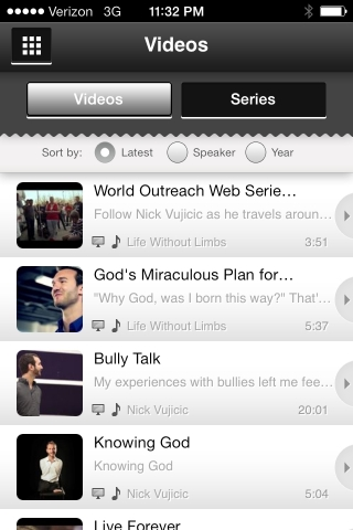 The free Life Without Limbs app, now available in the App Store and Google Play, offers a number of features including a library of message content, an interactive prayer wall, the entire Bible, and streaming video. (Photo: Business Wire)