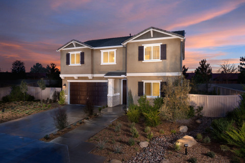 KB Home's 2,537 square foot Double ZeroHouse at Dawn Creek in Lancaster, Calif. is the builder's first to achieve net-zero energy status and zero freshwater usage irrigation. (Photo: Business Wire)