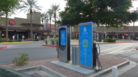 Volta has launched 12 electric vehicle (EV) charging stations in Arizona, including these stations in Phoenix at the Ahwatukee Foothills Towne Center. (Photo: Business Wire)