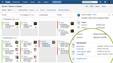 With Atlassian Git Essentials, information important for development is aggregated into a single view within JIRA Agile for easy end-to-end traceability of every issue. Create a branch, see the status of commits and pull requests, and watch builds and deployments, all within your JIRA issue. Seamlessly move through applications with just a click. (Graphic: Business Wire)