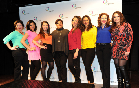 "Writer/director Linda Nieves-Powell, fourth from left, and radio personality Angie Martinez, right, join the cast after the debut of the P&G Orgullosa production of ""Nueva Latina Monologues,"" written by Nieves-Powell, at the Helen Mills Theater, Wednesday, Feb. 26, 2014 in New York. The Nueva Latina Monologues personifies the unique and complex journey of the bicultural Latina experience through emotion, comedy and authenticity. Visit Facebook.com/Orgullosa for more information. (Photo by Diane Bondareff/Invision for P&G Orgullosa/AP Images)"