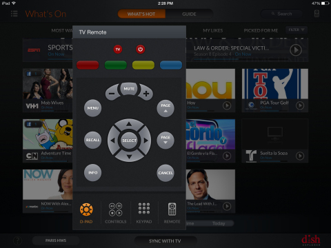 DISH Explorer remote control used to turn TV on/off and change the volume. (Graphic: Business Wire)