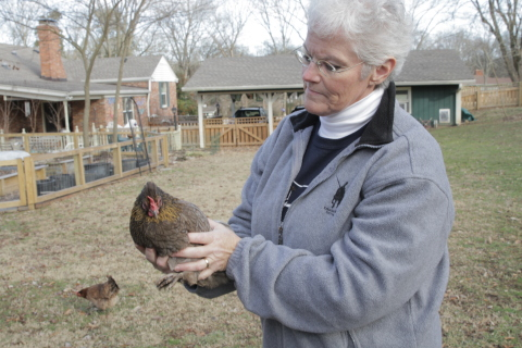 Robyn Kevlin, of Nashville, Tenn., has been raising six hens in her backyard since 2012. (Photo: Business Wire)