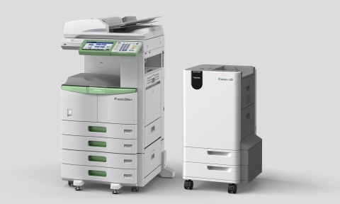 The e-STUDIO306LP (left) and RD30 (right). Since it has been released, several industries such as logistics, press, education, environmental groups, manufacturing etc. have installed this paper reusing system. (Photo: Business Wire)