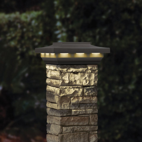 Deckorators cast stone postcover and new Woodland Gray Solar post cap. (Photo: Business Wire)
