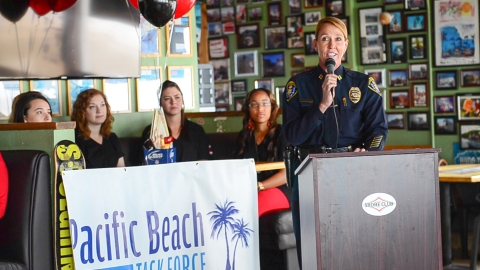 San Diego Police Department Captain, Lori Lunhow urges students and other visitors to party responsibly during spring break. (Photo: Business Wire)