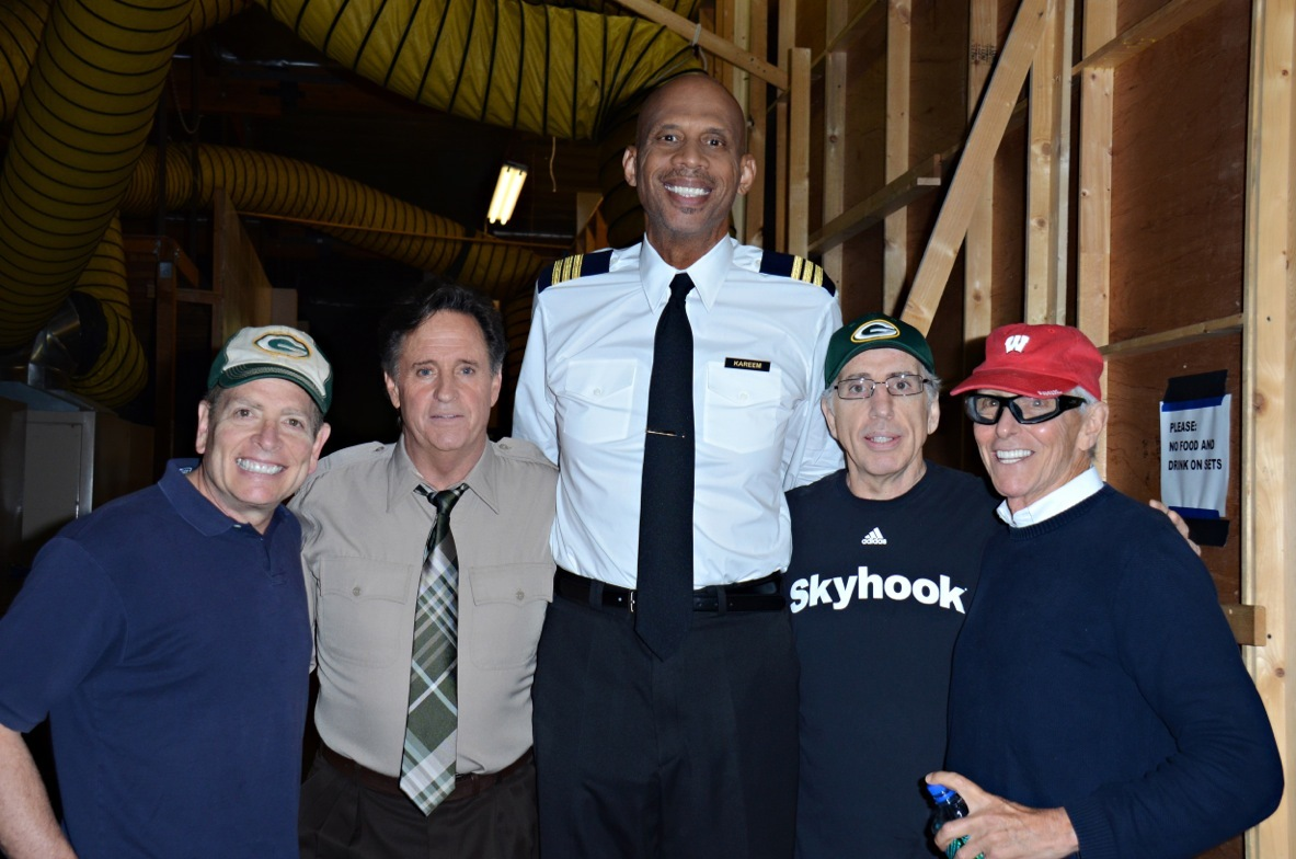 """Airplane!"" directors and cast members David Zucker, Robert Hays, Kareem Abdul-Jabbar, Jerry Zucker and Jim Abrahams reunited to shoot Wisconsin tourism ads after 30 years. (Photo: Business Wire)"