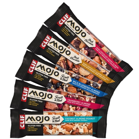 CLIF MOJO Fruit & Nut and CLIF MOJO Dark Chocolate are now available nationwide. [SRP $1.49/bar; multipack $5.99/5 bars] (Photo: Business Wire)