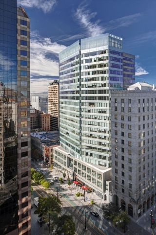 KBS REIT III has closed in the $170.5 million purchase of 222 Main, a Class-A LEED Gold certified office tower in Salt Lake City. It was 85-percent leased at the time of purchase. (Graphic: Business Wire)