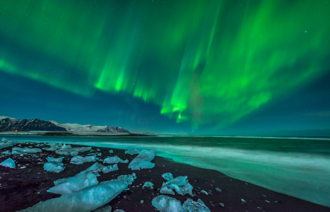A beautiful aurora display over the ice beach near Jokulsarlon, Iceland. (Photo: Business Wire)