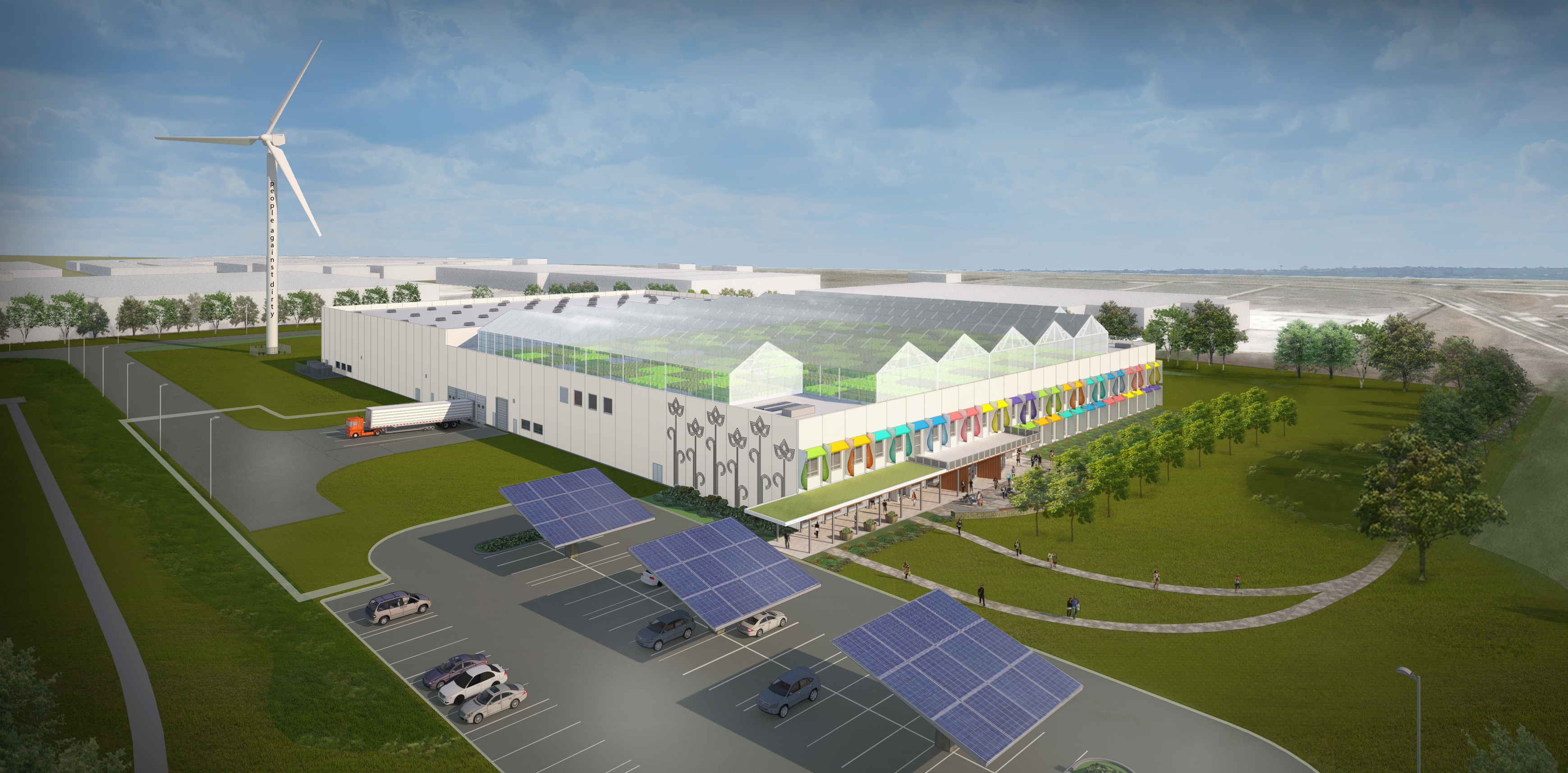 Designed by William McDonough + Partners, Method's plant includes a refurbished 230 foot wind turbine, solar panel installations, Cradle-to-Cradle materials throughout the interior and exterior of the plant, and plans for greenhouses on the roof. (Photo: Business Wire)